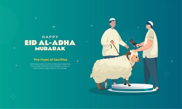 Illustrazione del sacrificio di pecore per la tradizione di eid aladha