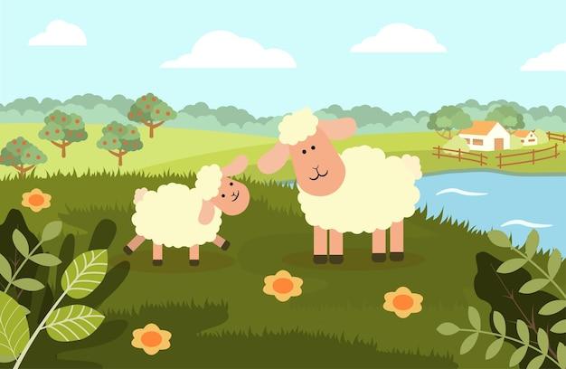 Una pecora con un agnello sullo sfondo di un paesaggio rurale in uno stile piatto.