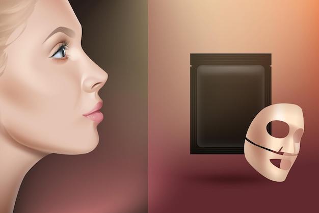 Foglio di maschera facciale concetto di pubblicità. maschera in cotone o gel con confezione, vista laterale del viso della ragazza. realistico