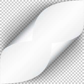 Foglio di carta con angolo arricciato e morbida ombra