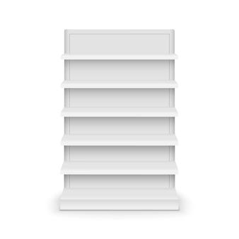 Supporto del modello del supermercato dello scaffale. scaffale al dettaglio espositore scaffali vettoriali vuoti.