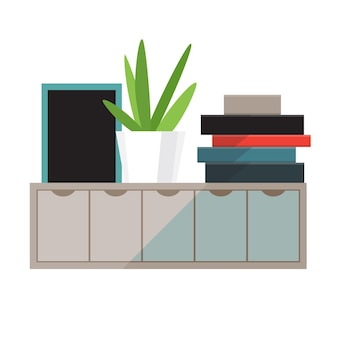 Mensola con libri e illustrazione di piante da appartamento