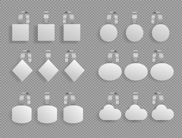 Ripiano traballante. promozione di vendita del supermercato che indica il segno di prezzi. scaffali del mercato dei tag. i wobblers quadrati rotondi rotondi di carta dell'ellisse del diamante delle etichette bianche del punto per lo scaffale di negozio hanno isolato 3d realistico