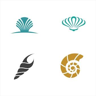 Modello di progettazione dell'illustrazione dell'icona di vettore della conchiglia