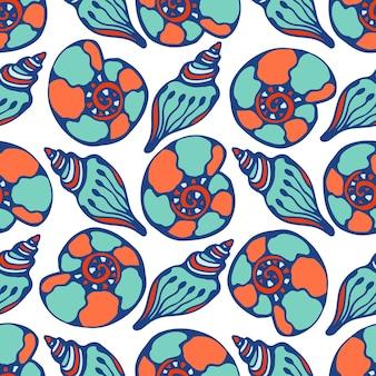 Shells modello blu senza saldatura. la vita marina disegnata a mano