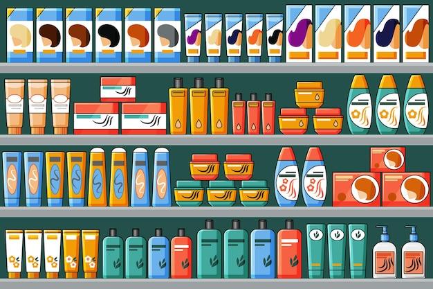 Scaffali pieni di prodotti per capelli e di bellezza, shampoo, tinture per capelli. sfondo vettoriale in stile cartone animato.