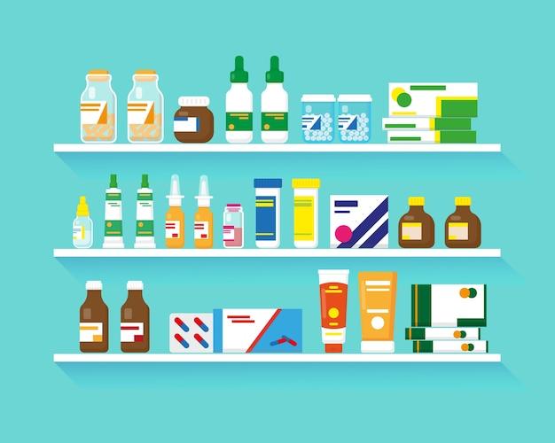 Ripiani con farmaci. diversi tipi di farmaci su tre scaffali.