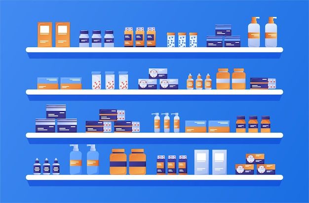 Scaffali con farmaci farmaci pillole capsule flaconi di vitamine e compresse