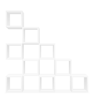 Scaffalature per presentazioni espositive o pubblicità di prodotti e merci modello vuoto