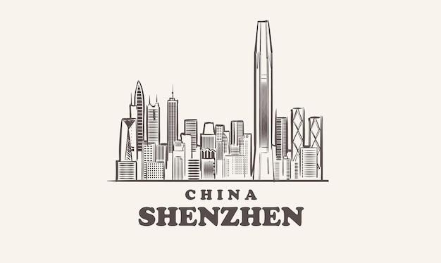 Illustrazione disegnata a mano della cina di schizzo di paesaggio urbano di shenzhen