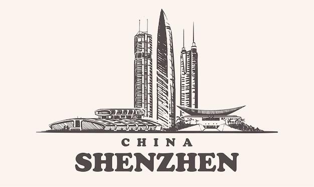 Skyline di shenzhen, illustrazione vintage cina, edifici disegnati a mano della città di shenzhen, su sfondo bianco.