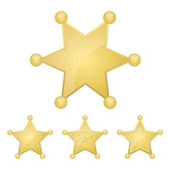 Illustrazione del distintivo della stella dorata dello sceriffo su fondo bianco