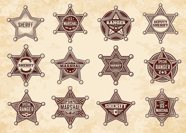 Sceriffo, maresciallo e stelle ranger, distintivi. insegne vintage della polizia del selvaggio west americano.