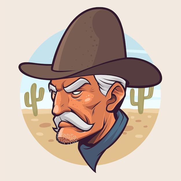 Illustrazione del fumetto della testa dello sceriffo con sfondo del deserto
