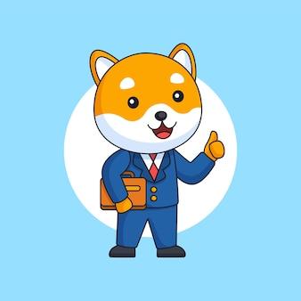 Cane shiba che indossa un completo da lavoro che tiene in mano una valigetta illustrazione vettoriale animale cartone animato da lavoro in ufficio