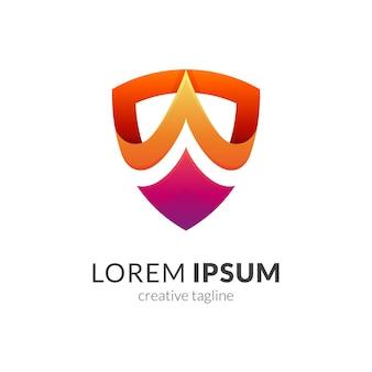 Modello di logo aziendale freccia scudo