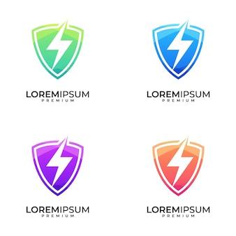 Insieme di progettazione di logo colorato bullone scudo