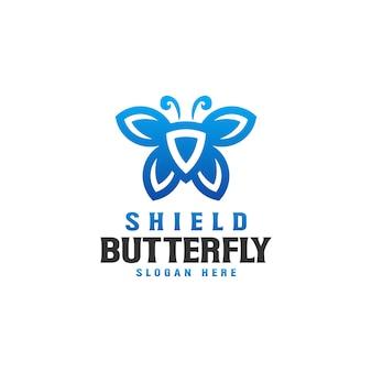 Modello di logo scudo farfalla