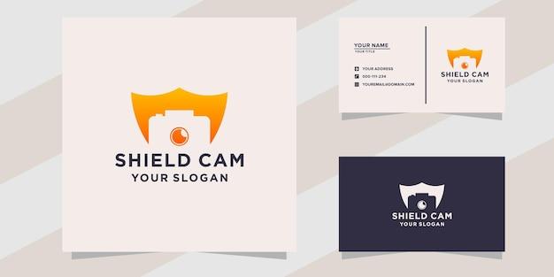 Modello di logo della fotocamera scudo