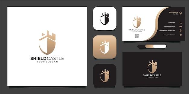 Modello di progettazione del logo del castello di scudo e biglietto da visita vettore premium