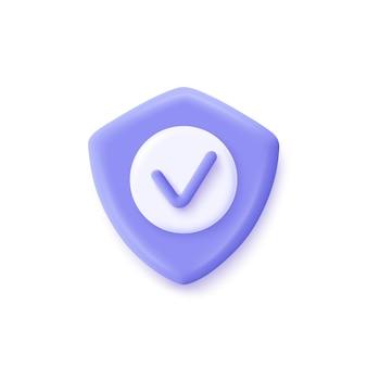 Icona del segno di spunta scudo. illustrazione vettoriale 3d. sicurezza, icona garantita.