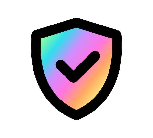 Scudo segno di spunta logo colore olografico icona modello di progettazione, illustrazione vettoriale.