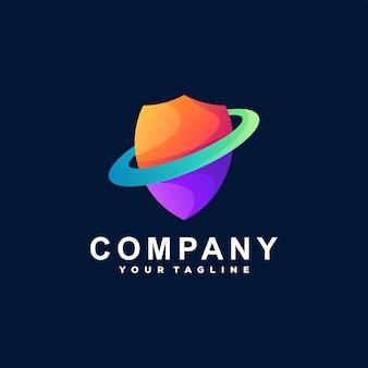 Scudo design del logo sfumato di colore Vettore Premium