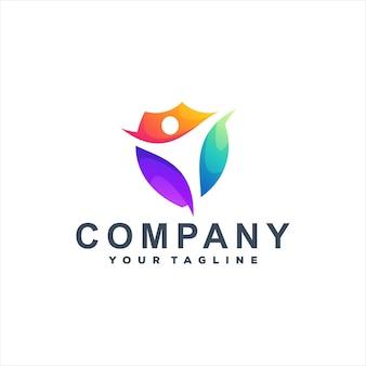 Scudo design del logo sfumato di colore