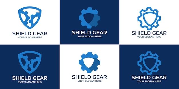 Insieme del logo di ispirazione dell'ingranaggio dello scudo