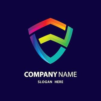 Scudo gradiente logo design illustrazione