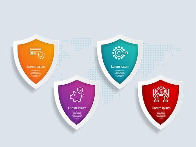 Scudo modello di elemento infografica con icone di affari 4 opzioni