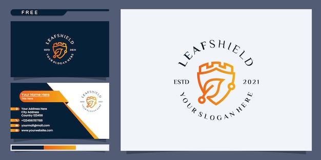 Modello di progettazione logo scudo e foglia, simbolo di protezione della natura. logo design e biglietto da visita