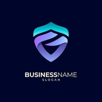Scudo lettera g modello di progettazione del logo sfumato