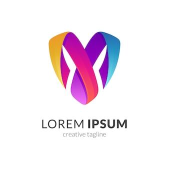 Modello di scudo lettera m logo