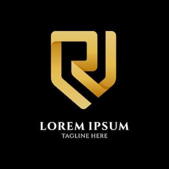 Modello di logo aziendale lettera r scudo