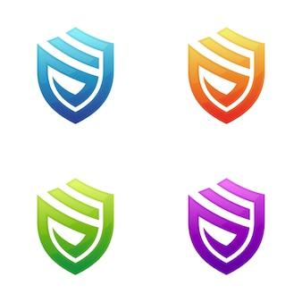 Modello di scudo lettera s logo