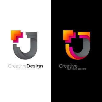 Modello di progettazione logo e freccia scudo, icona colorata