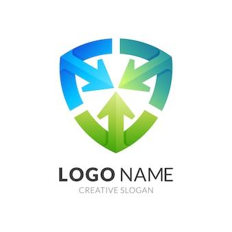 Modello di progettazione logo e freccia scudo, logo di sicurezza con icone colorate