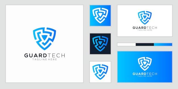 Scudo la tecnologia del logo per la tua azienda