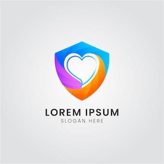 Scudo logo con icona dell'amore combinazione colorata logo design