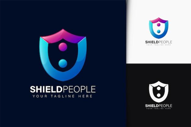 Scudo design del logo delle persone con gradiente
