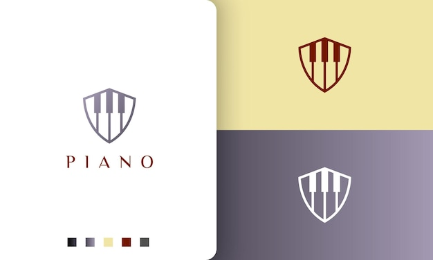 Scudo logo o icona del pianoforte in uno stile semplice e moderno