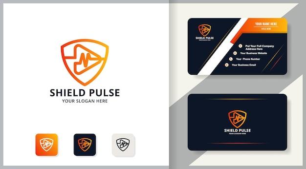 Combinazione di logo del pulsante di riproduzione della musica a impulsi di scudo, logo di ispirazione per il trattamento e l'intrattenimento