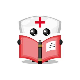 Scudo libro di lettura simpatico personaggio mascotte
