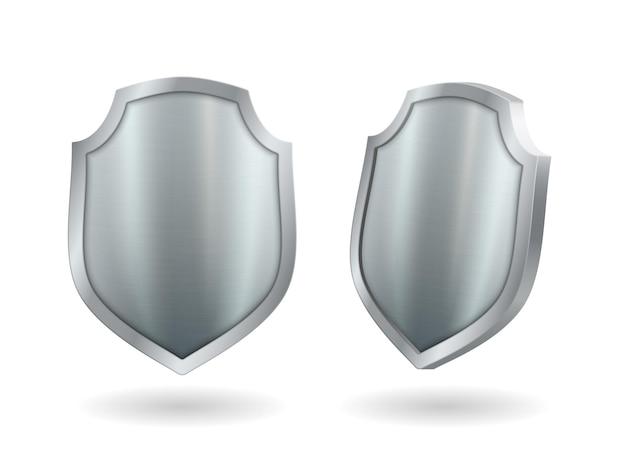 Scudo realistico set di icone 3d in metallo, elemento di guardia del cavaliere medievale in argento. trofeo premio modello, armatura militare isolato su sfondo bianco con ombra. illustrazione vettoriale