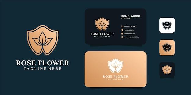 Scudo rosa fiore logo e biglietto da visita design ispirazione.
