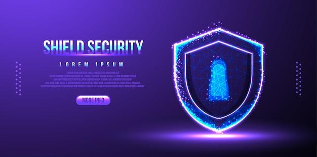 Scudo concetto di sicurezza, wireframe low poly