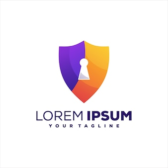 Scudo design del logo sfumato di sicurezza