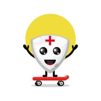 Scudo skateboard simpatico personaggio mascotte
