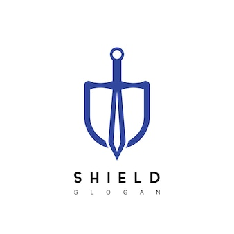 Ispirazione per il design del logo della spada dello scudo